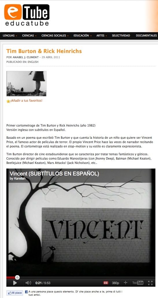 Video: Tim Burton and Rick Heinrichs' Vincent | Recurso educativo 39594